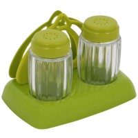 Set 2 recipiente pentru sare si piper + suport servetele AB46, PVC, 12 x 7 x 9.5 cm, diverse culori