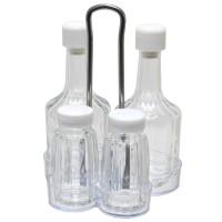 Oliviera cu 4 recipiente pentru condimente AB51, sticla + pvc, 11 x 10 x 18 cm