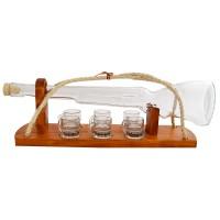 Suport pahare + sticla, 3388, din lemn, 47 x 12 x 15 cm