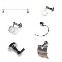 Set accesorii pentru baie, Kadda Athena Y9100, cromat, 6 piese