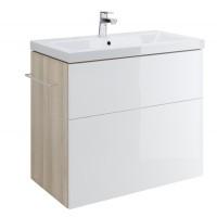 Masca baie pentru lavoar, Cersanit Smart Como S568-020, cu sertare, alb / frasin, montaj suspendat, 79 x 45 x 67 cm
