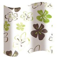 Perdea dus Hypo 819, model flori, alb + maro + verde, 180 x 180 cm