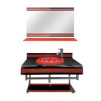 Masca baie + lavoar + oglinda 1181, rosu, montaj suspendat, 80 x 54 cm
