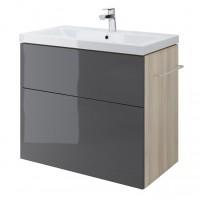 Masca baie pentru lavoar, Cersanit Smart Como S568-021, cu sertare, gri, montaj suspendat, 79 x 44.3 x 66.4 cm