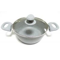 Oala cu capac, Best Imp, aluminiu + teflon, gri, 1.8 L, 20 cm