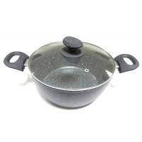 Oala cu capac, Best Imp, aluminiu + teflon, neagra, 3.6 L, 24 cm