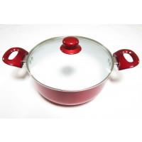 Oala ceramica, cu capac, Best Imp, aluminiu + ceramica, rosie, 3.4 L, 24 cm