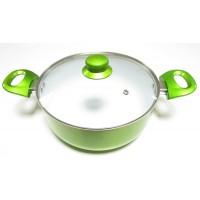 Oala ceramica, cu capac, Best Imp, aluminiu + ceramica, verde, 3.4 L, 24 cm