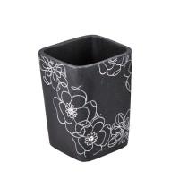Pahar baie pentru igiena personala, Kadda Emotions BPO-0306C, polirasina, model floral, negru / alb, 7.8 x 7.8 x 10.5 cm