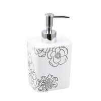 Dozator sapun lichid Kadda Emotions BPO-0306A, polirasina, model floral alb / negru, 350 ml