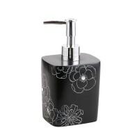 Dozator sapun lichid Kadda Emotions BPO-BPO-0306A, polirasina, model floral negru / alb, 350 ml