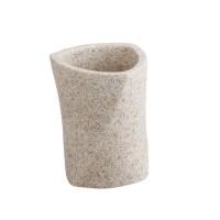 Pahar baie pentru igiena personala, Kadda Sahara BPO-0303C, polirasina, finisaj piatra, 8.5 x 8.5 x 10.3 cm