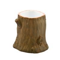 Pahar baie pentru igiena personala, Kadda Wood BPO-1203C, polirasina, model trunchi copac, 9.3 x 9.2 cm