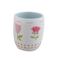 Pahar baie pentru igiena personala, Flower BPO-0235C, polirasina, model floral