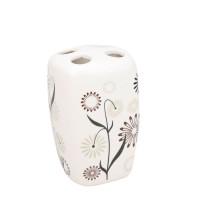 Suport periute dinti, Kadda Magic BCO-0291B, ceramica, model floral, 7 x 6.5 x 11 cm