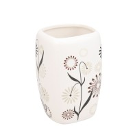 Pahar baie pentru igiena personala, Kadda Magic BCO-0291C, ceramica, model floral, 7 x 6.5 x 10.5 cm