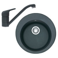 Chiuveta bucatarie compozit granit Franke ROG 610 neagra rotunda diametru de 51 cm + bateria grafite