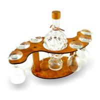 Suport pahare + sticla, 3497, din lemn, 43.5 x 15.5 x 19 cm