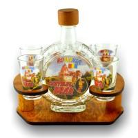Suport pahare + sticla, 3515-7, din lemn, 21 x 18.5 x 15 cm