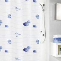 Perdea dus Kleine Wolke Miami 34172, model scoici, alb + albastru, 180 x 200 cm