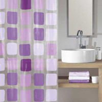Perdea dus Kleine Wolke Sonny 34179, model geometric, nuante violet, 180 x 200 cm
