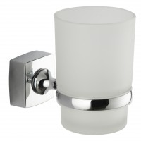 Pahar baie pentru igiena personala, cu suport, Iobagno Quadra AC1105, sticla, mat, prindere pe perete, 10 x 12 x 7 cm