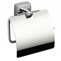 Suport pentru hartie igienica, Iobagno Quadra AC1112, cu clapeta, cromat, 12.5 x 4.5 x 12 cm