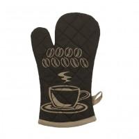 Manusa bucatarie N-6956, model ceasca si boabe de cafea, bumbac + poliester, maro, 32 x 18 cm