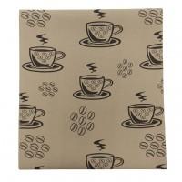 Napron N-6956, model ceasca si boabe de cafea, bumbac, maro, 150 x 33 cm