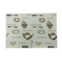 Suport de masa, pentru bucatarie, N-7570, model cesti si boabe de cafea, bumbac, maro + crem, 48 x 33 cm