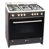 Aragaz pe gaz Studio Casa Monza 9060, 5 arzatoare, aprindere electrica, grill, rotisor, latime 90 cm, negru