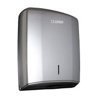 Dispenser hartie Losdi, gri, pentru prosoape pliate, plastic ABS, 28.5 x 27.5 x 13.5 cm
