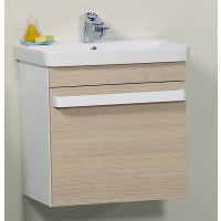 Masca baie pentru lavoar, Arthema Revo, cu sertare, alb / stejar, montaj suspendat, 56 x 55 x 43.8 cm