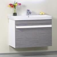 Masca baie pentru lavoar, Arthema Revo 80 381R-WL, cu sertar, alb + bambus, montaj suspendat, 78 x 46 x 55 cm