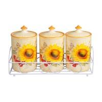 Recipiente pentru bucatarie + suport HC3D01AJ-S16, crem + galben, ceramica + metal, 9.8 x 16.5 cm, set 4 bucati
