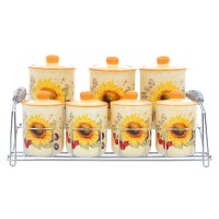 Recipiente pentru bucatarie + suport HC3D01C+3D01D-S16, crem + galben, ceramica + metal, set 7 bucati