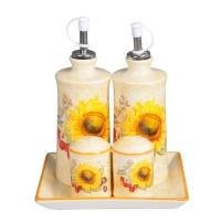 Recipiente pentru bucatarie + suport HC445+423R-S16, ceramica, set 5 bucati
