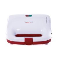 Sandwich maker Albatros S2A-750, 750 W, placi neaderente tip grill, maner termorezistent, indicator luminos incalzire, alb + rosu
