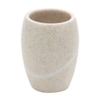 Pahar baie pentru igiena personala, Kadda Stone BPO-0822C, polirasina, finisaj piatra, 10.2 x 7.9 cm