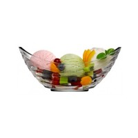 Bol tip gondola pentru inghetata / fructe 53983, set 2 bucati, sticla, transparent, 16.6 x 6.2 x 7.2 cm, 204 ml