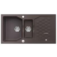 Chiuveta bucatarie compozit granit Alveus Sensual 70 03 maro chocolate cuva stanga / dreapta 98 x 52 cm