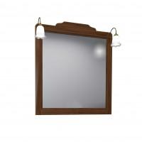 Oglinda baie cu iluminare Savini Due Daiana 7086, nuc, cu rama, 100 x 112 cm