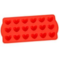 Forma pentru gheata, forma inima, MYS 304, silicon, diverse culori, 10 x 21.5 x 2 cm