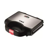 Sandwich maker Samus STG-750BX, 750 W, placi neaderente tip grill, termostat, carcasa termorezistenta, indicator luminos incalzire, negru + gri