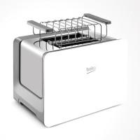 Prajitor de paine Beko TAM6202W, 870 W, 2 felii, functie decongelare, functie reincalzire, 7 trepte putere, alb, suport chifle