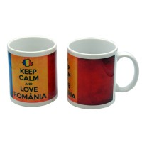 Cana cu mesaj Keep calm and love Romania, ceramica, multicolor, 250 ml