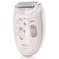 Epilator Philips HP6423/00, 21 discuri, 2 viteze, discuri metalice, cap de radere, pieptene de tuns, cap de epilare lavabil, perie de curatat, husa, alb + bej