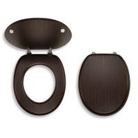 Capac WC din lemn furniruit, Ferro, wenge, inchidere standard, 375 x 420 / 460 mm