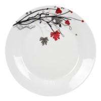 Farfurie intinsa mica EX9342, portelan, alb + model floral, 19 cm