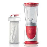 Blender Philips HR2872/00, 350 W, 1 treapta de viteza, 0.6 l, bol plastic gradat, rosu + alb, 1 recipient gradat din sticla On-the-Go